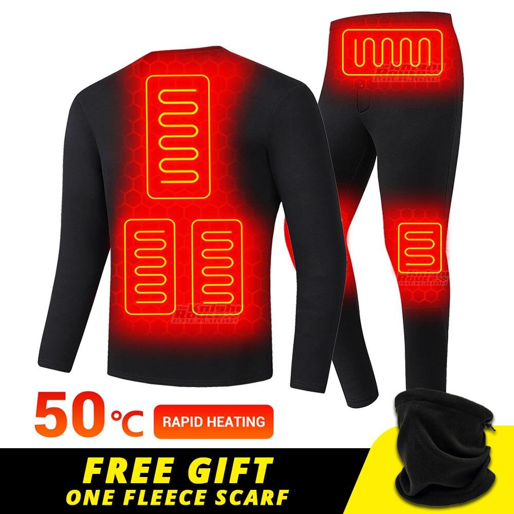 Winter Heated Underwear USB Battery Powered Fleece Thermal Heating Motorcycle Jacket Moto Long Johns Pants Electric Suit Men